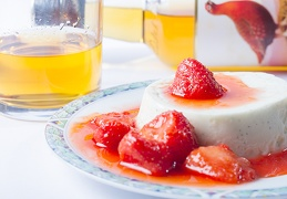 Dec 03 - Whisky pannacotta with strawberries.