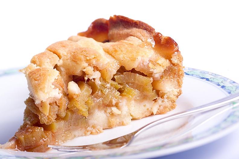 A piece of home made rhubarb pie.
