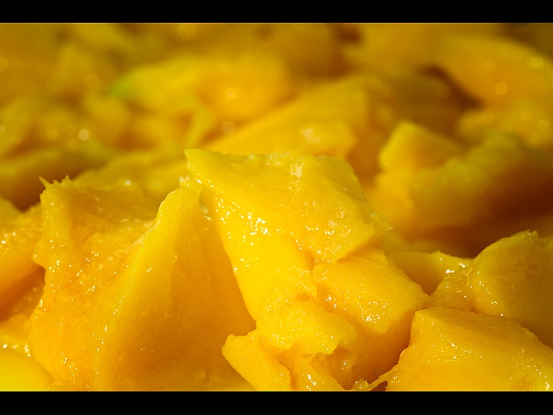 Preparing a mango salsa.