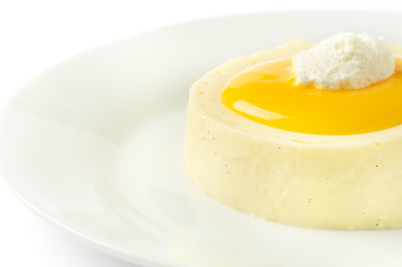Eggnog panna cotta. Yellow ribbon for me on DPC deserves a yellow dessert :)