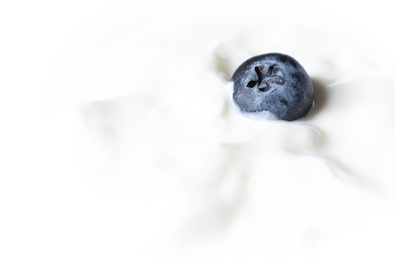 Yogurt with a blueberry