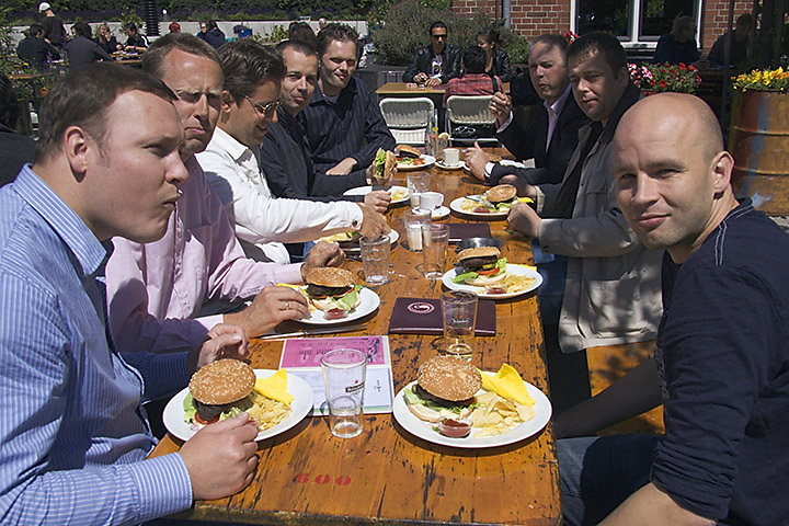 The last day at work of one of my colleagues. His official farewell was yesterday, but today we gave him a nice outside lunch.