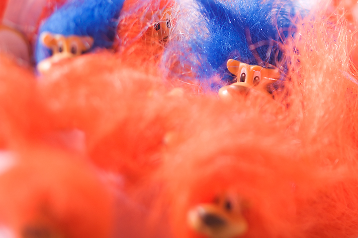 Some old colorful hairy toys.
